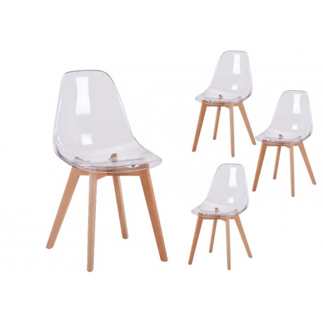 chaise scandinave assise transparente - Chaise Scandinave