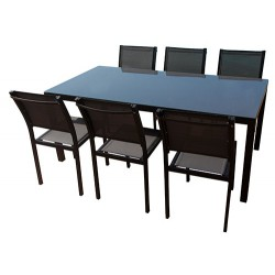 Table en aluminium de 180 cm + 6 chaises